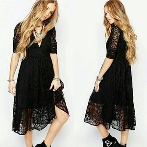 free people black lace embroidered midi dress 4